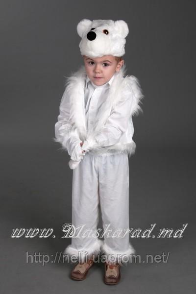 Умка Белый медвежонок шапочка-маска, жилетка, бриджи, рукавички.