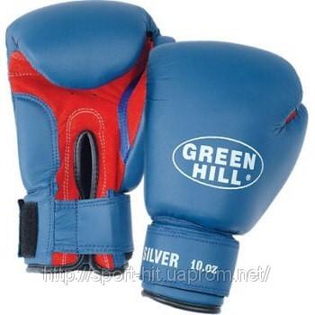 """Тренировочные перчатки на липучке Green Hill  """"SILVER """" (BGS-2039) 8-14oz"""