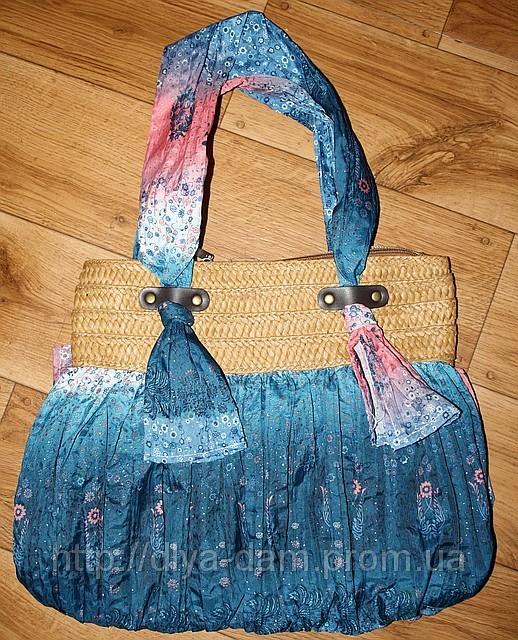 Стильная яркая летняя сумка.  Ткань жатка котон.